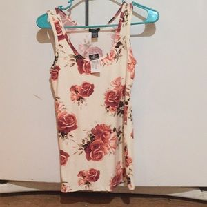 Women's tank- red and pink floral